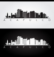 acapulco skyline and landmarks silhouette black vector image