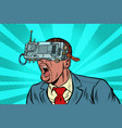 african businessman in vr glasses screaming vector image vector image