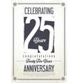 anniversary retro vintage background 25 years vector image vector image