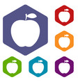 apple icons set hexagon vector image vector image