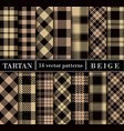 beige set tartan plaid seamless patterns vector image vector image