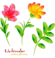 Bright watercolor painted flowers set