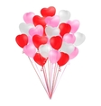 Bunch of transparent realistic heart shaped vector image