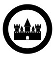 castle icon black color in circle vector image