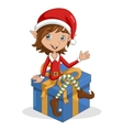 Christmas elf sitting on gift vector image vector image