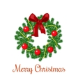 Christmas wreath with red ribbon and balls vector image