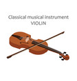 classic violin with bow of vector image vector image