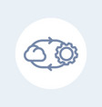 Cloud technology line icon isolated over white
