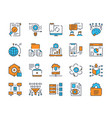 color linear icon set data outline vector image vector image