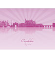 Cordoba skyline in purple radiant orchid vector image vector image