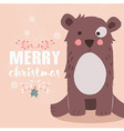 Cute brown bear and Merry Christmas lettering vector image vector image