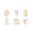 cute giraffe original design logo templates vector image