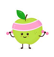 cute smiling happy strong apple vector image