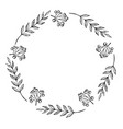 doodle monochrome berry and leaf circle frame vector image