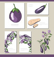 eggplant set with visitcards and greeting vector image