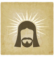 face of jesus christ vintage background vector image