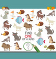 find one of a kind with animal characters vector image vector image