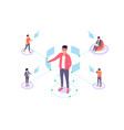 flat man with remote employee communication and vector image vector image