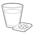 glass of water and pills icon outline style vector image vector image