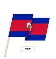 Haiti Ribbon Waving Flag Isolated on White