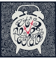 Hand drawn typography poster with alarm clock vector image