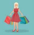 happy shopper girl holds packages big sale vector image vector image
