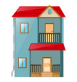 house painted blue with red roof vector image vector image