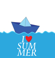 i love summer with paper boat color vector image