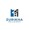 initial letter z and b construction logo design vector image