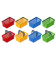 isometric set plastic shopping baskets on white vector image vector image