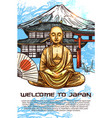 japan travel poster of sitting buddha gold statue vector image