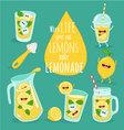 lemon lemonade set vector image