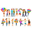 lgbt community celebrating gay pride love parade vector image