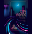 light trail vehicles at highway in big city in vector image vector image