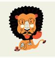 lion professor cartoon flat lion with glasses vector image