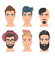 male portrait avatar face set vector image vector image