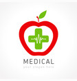 medical apple plus company logo concept vector image