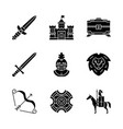 medieval glyph icons set vector image