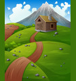 mountain landscape with wooden cabin at the hills vector image vector image