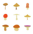 mushroom business icons set cartoon style vector image