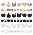 Muzzles of animals cartoon icons in set collection