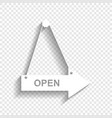 open sign white icon with vector image vector image