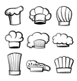 Outline chef hats and toques set vector image