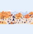 people walking in autumn park flat vector image