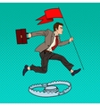 Pop Art Businessman with Flag Jumping Over Trap vector image