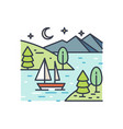 romantic lake trip on starry night line art vector image