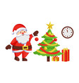 santa claus decorate new year tree by hanging ball vector image vector image