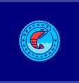 seafood restaurant logo pink shrimp waves vector image vector image