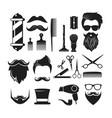 set barber shop icons vector image