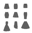 set different types skirts vector image